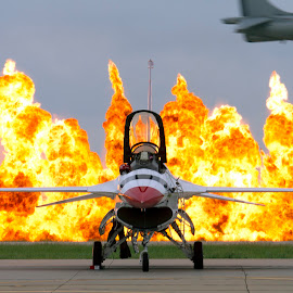 Carpet Bomb by Patrick Barron - Transportation Airplanes ( pyro, f-16, fire, harrier, thunderbirds )