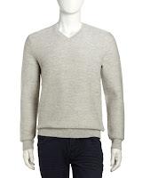 Vince Chevron-Knit Wool-Blend V-Neck Sweater, White