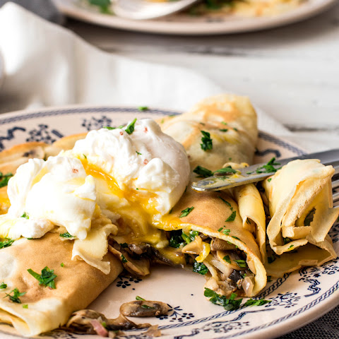 Mushroom Crêpes with Poached Eggs