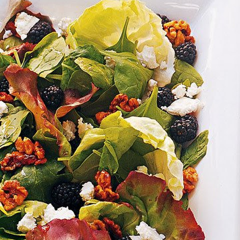 Mixed Greens Salad with Sugared Walnuts, Blackberries, and Feta