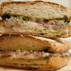 Prosciutto and Fontina Panini with Arugula Pesto