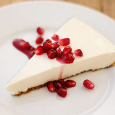 Greek Yogurt Cheesecake with Pomegranate Sauce