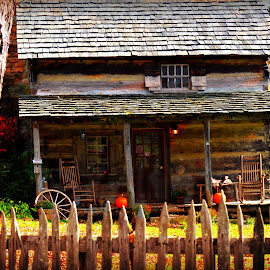 Old Farm House ! by Linda Blevins - Buildings & Architecture Homes ( cabin, fence, tree, pumpkins, beauty )
