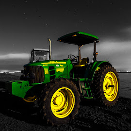 Deere Nights by Gabe Rodriguez - Transportation Other ( green, long exposure, yellow, nikon, tractor, selective color, pwc )