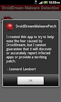 Screenshot of DroidDream Malware Patch