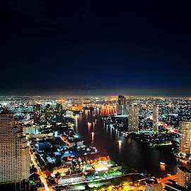 55 Floors Above Bangkok by David Harris - City,  Street & Park  Skylines ( bangkok, skyline, night, river )