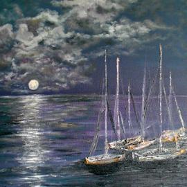 Moonlit Moorings by Rhonda Lee - Painting All Painting ( water, moon, art, sea, ocean, seascape, boat, oil, sky, full, sail, night, painting )