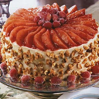 Christmas Cranberry, Pear and Walnut Torte with Cream Cheese-Orange Frosting