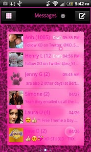 Pink Leopard theme GO SMS QT - screenshot
