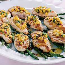 Seared Chicken & Asparagus With Mango Salsa