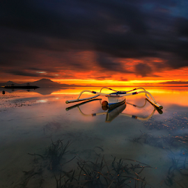 Fire On The Sky by Gede Suyoga - Landscapes Sunsets & Sunrises (  )