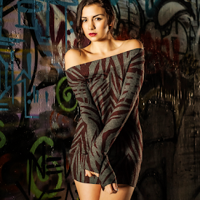 Mikah Sullivan by Charles Lugtu - People Portraits of Women ( mini dress, fashion vandalism, natural light, fashion, graffiti, vandalism, sweater dress, edgy, nikon, nik,  )