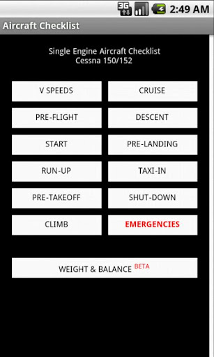 aircraft-checklist for android screenshot