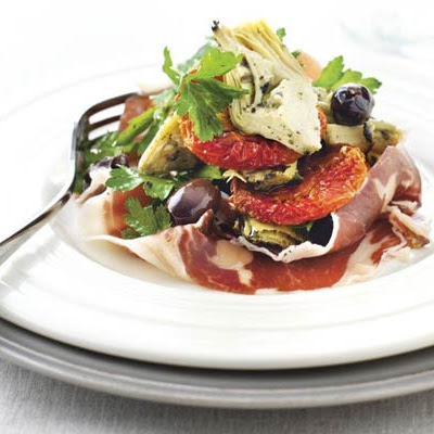 Slow-roast tomatoes with Iberico ham & artichokes