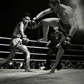 Going Down by Ian Gledhill - Sports & Fitness Boxing ( kick boxing, tournament, black and white, fitness, fight, event, muay thai, thailand, asia, boxing, match )