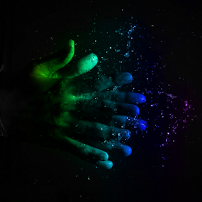 Coloured Wet Clap by DrArindam Ghosh - People Body Parts ( colour, splash, dropart, drop, clap, holi, drop art, applause, wet clap )