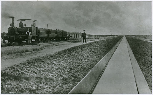 Photograph showing the original outfall sewer construction scene, c. 1895.