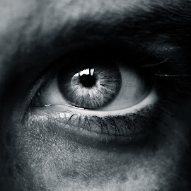 Stare by Alex Rift - People Body Parts ( macro, white, closeup, black, and, eye )