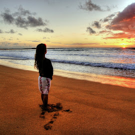 Aloha Sunrise by Ryan Smith - Landscapes Sunsets & Sunrises ( sand, kauai, girl, waves, beach, sunrise )