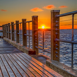 Vineyard Sunrise by Peter A Richardson - Landscapes Sunsets & Sunrises ( hdr, pier, sunrise )