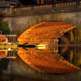 Workman bridge sunrise by Dave Knibbs - Buildings & Architecture Bridges & Suspended Structures ( canon, reflection, workman bridge, river avon, worcestershire, sunrise, avon, boat, evesham )
