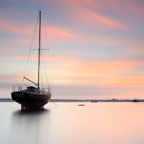left alone by Jozef Svintek - Transportation Boats ( clouds, sunset, sea, seascape, boat )