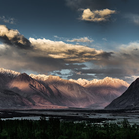 Nubra Valley, Ladakh, India by Kevin Standage - Landscapes Mountains & Hills ( canon, sunset, india, nubra, landscape, storm, evening )