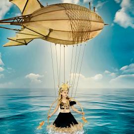 Steamship by Beth Schneckenburger - Digital Art People ( child, airship, fish, lake, steampunk )