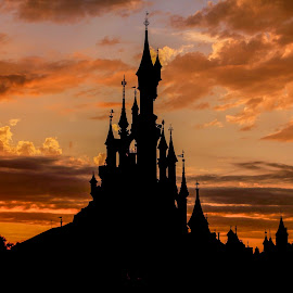 Sunset at disneyland paris by Tarun Sethi - City,  Street & Park  Amusement Parks ( disney world, silhouette, sunset, silhouettes, castle, disneyland, disneyland paris, disney, fairytale )