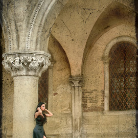 Venice and fashion by Iva Aviana - City,  Street & Park  Historic Districts ( pose, leg, model, fashion, girl, doge palace, texture, venice, italy, arcade )