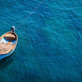 Standing Still by Marwa Ibrahim - Landscapes Waterscapes ( blue, sea, still, boat, alone )