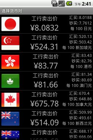 Currency Widget - ICBC