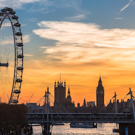 Fire Sky in London by Stephen Bridger - City,  Street & Park  Skylines ( london eye, england, skyline, europe, london, sunset, big ben, travel, travel photography, united kingdom, city )