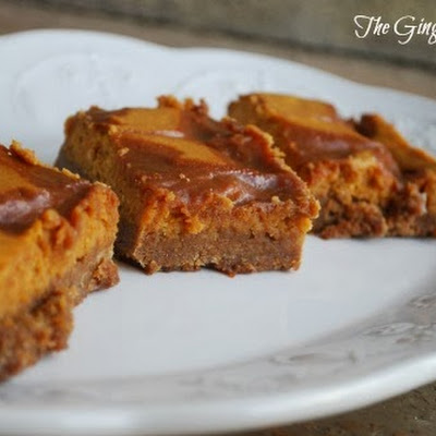 Pumpkin Cheesecake Bars with Salted Caramel Swirls