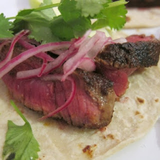 Beef Tenderloin and Pickled Onion Tacos