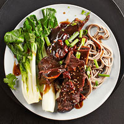 Cherry-Braised Short Ribs with Bok Choy & Soba Noodles