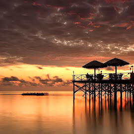 Sunrise at the Pier by Ina Herliana Koswara - Landscapes Sunsets & Sunrises ( water, sky, pier, beach, sunrise )