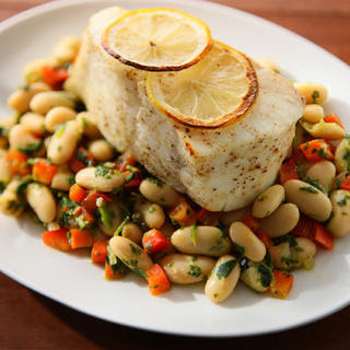 Halibut with Watercress Pesto and Cannellini Beans