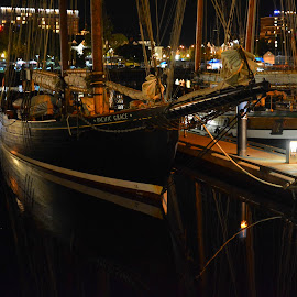 Black Ship by Keith Boone - Transportation Boats ( sailboats, reflections, night, darkness )