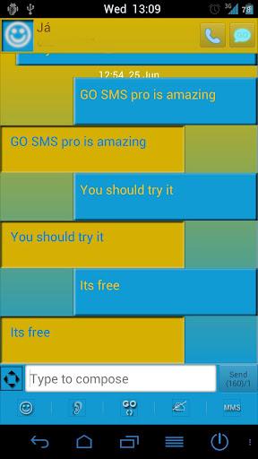 Go SMS Pro Blue Premium theme