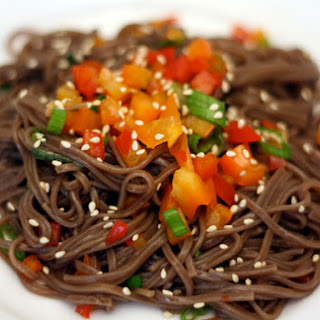 Cold Soba Salad with Peppers and Ponzu Dressing