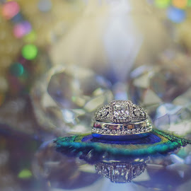 The Ringshot by Melony Stevens - Wedding Details ( bling, melony stevens photography, ring, wedding, diamond, feather, peacock, ringshot, object, artistic, jewelry )