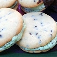 Chocolate Chip Cookie and Mint Ice Cream Sandwiches