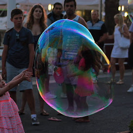 The bubble by Alma Gemea - City,  Street & Park  Street Scenes ( bubble, street, children, happiness )