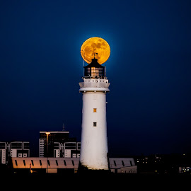 New Brighton Lighthouse + Moon by Robin Rowe - Buildings & Architecture Other Exteriors