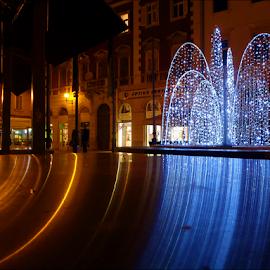 by Josip Kopčić - City,  Street & Park  Night ( mood, mood factory, holiday, christmas, hanukkah, red, green, lights, artifical, lighting, colors, Kwanzaa, blue, black, celebrate, tis the season, festive )