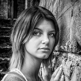 A.. by Krzysztof Niewiadomski - People Portraits of Women ( black and white, woman )