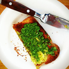 Whole Wheat Toast with Avacado Butter and Sorrel Pesto