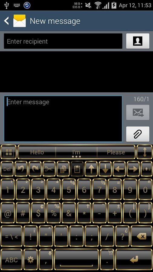 Theme for A.I.type Frame Gold Screenshot 4