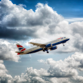 Come fly with me... by Laura Prieto - Transportation Airplanes ( clouds, plane taking off, heathrow, airplane, commercial aircraft )
